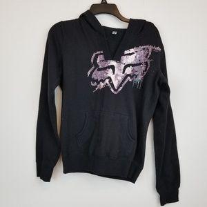 FOX Head black graphic sweatshirt hoodie size M